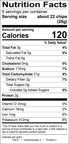 go free chips nutrition label